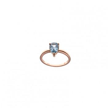 Anillo plata rosa piedra azul