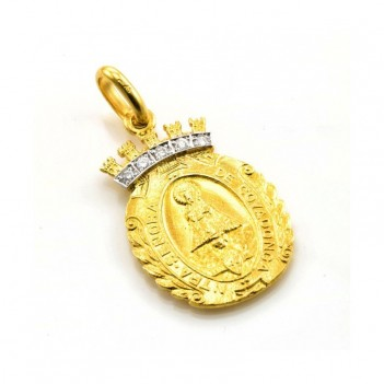 Medalla de Virgen de Covadonga en Oro Amarillo y Brillantes