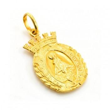 Medalla en oro amarillo de la virgen de Covadonga