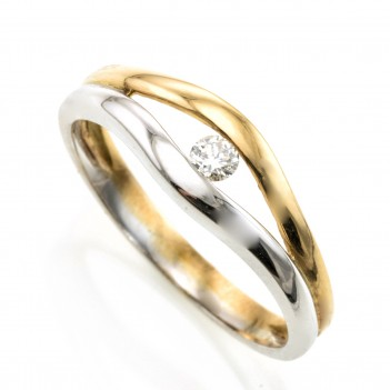 Anillo oro bicolor con brillante