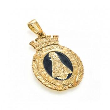 Medalla plata de la Virgen de Covadonga y esmalte