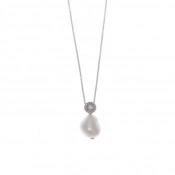 Colgante plata perla detalles circonitas