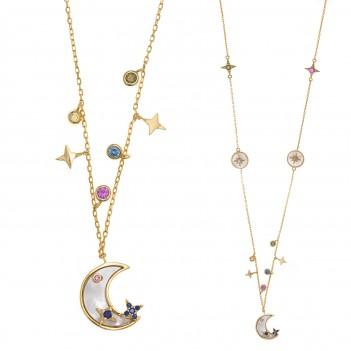 Collar plata largo detalles luna y estrellas