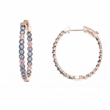 Pendientes plata rosa estilo aretas circonitas