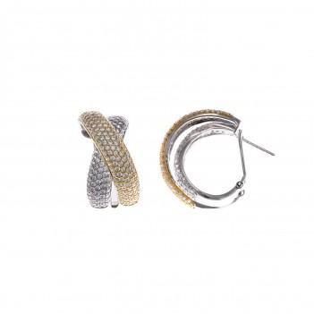 Pendientes media areta en plata con circonitas