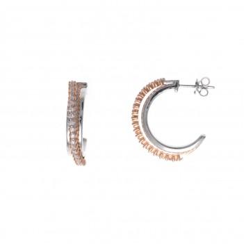 Pendientes plata bicolor con circonitas