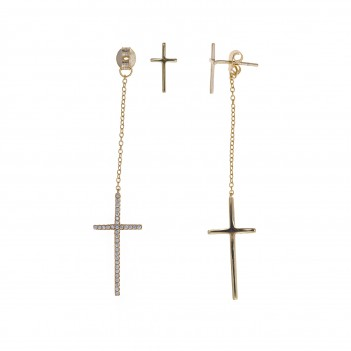 Pendientes plata dorada con Cruces