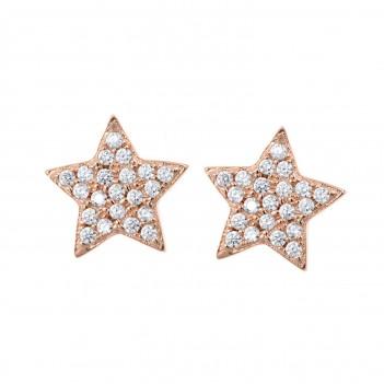 Pendientes plata rosa estrella