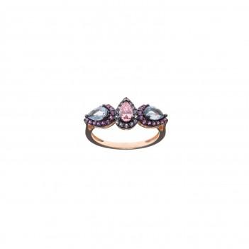 Anillo plata rosa con piedra de color