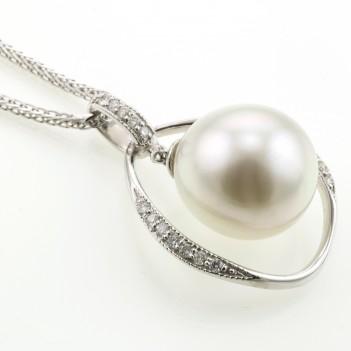 Colgante Oro Blanco Perla y Brillantes