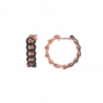 Pendientes plata rosa con circonitas negras