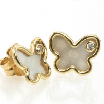 Pendientes oro amarillo mariposas