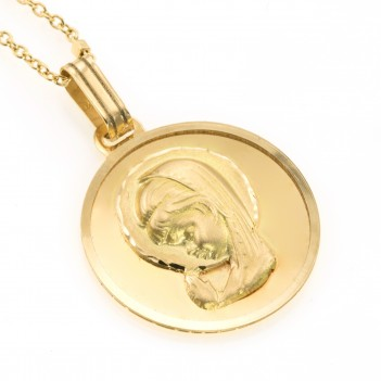Medalla Virgen niña en oro amarillo