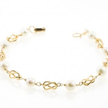 Pulsera oro amarillo perla