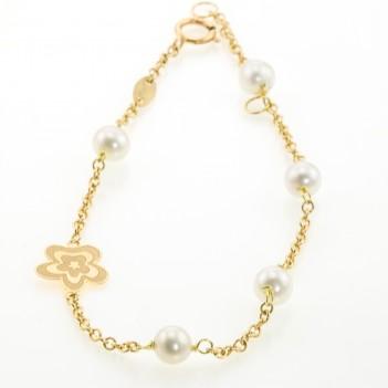 Pulsera oro amarillo con perlas