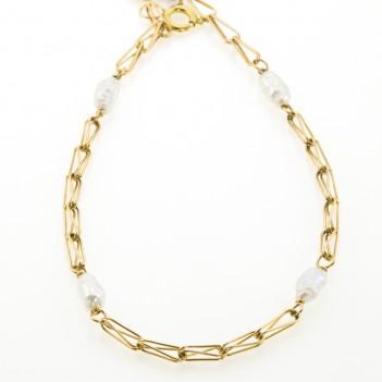 Pulsera oro amarillo perlas irregulares