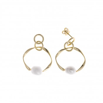Pendientes plata dorada con perlas