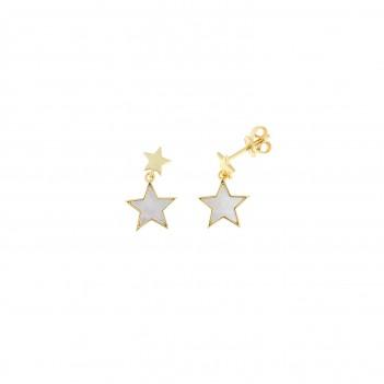 Pendientes plata dorada estrella