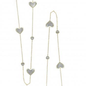 Collar plata con corazones con circonitas