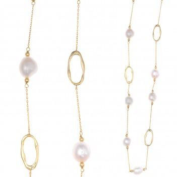 Collar plata dorada con perlas