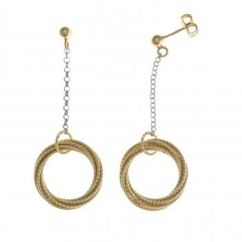 Pendientes plata dorada con círculos