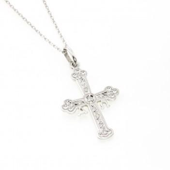 Cruz de la Victoria en oro blanco y brillantes