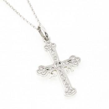 Cruz de la Victoria en oro blanco con brillantes