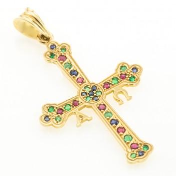 Cruz de la Victoria oro amarillo y gemas