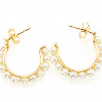Pendientes aro con perlas