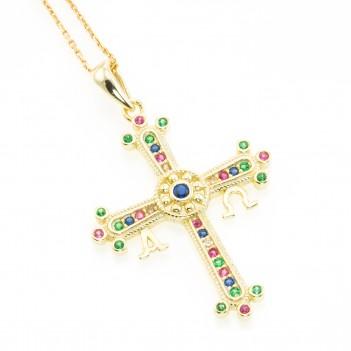 Cruz de plata dorada con circonitas de color