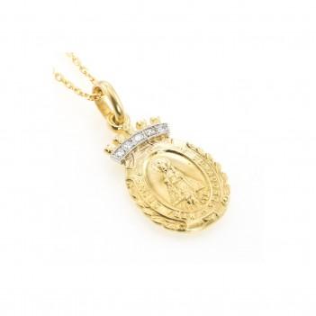 Medalla en Oro Amarillo de la Virgen de Covadonga con Brillantes de 0.05 quilates