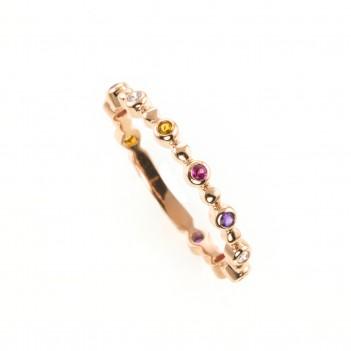 Anillo en oro rosa piedras multicolor