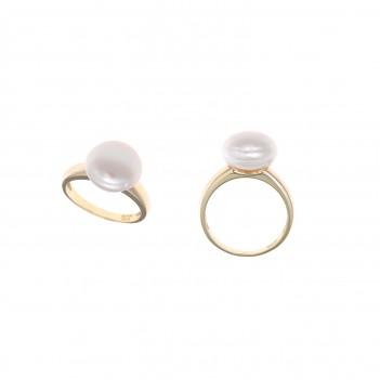 Anillo plata dorada con perlas