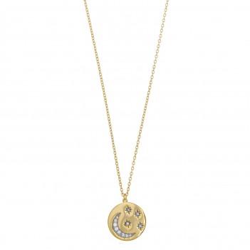 Colgante en plata dorada detalles en circonita