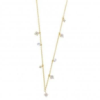 Collar plata dorada detalles circonitas