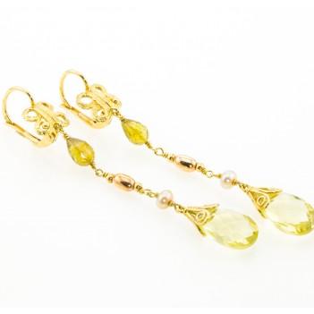 Pendientes oro amarillo Peridotos