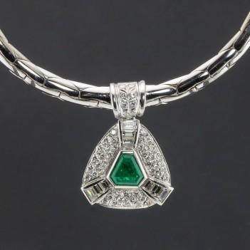 Collar oro blanco esmeralda y diamantes