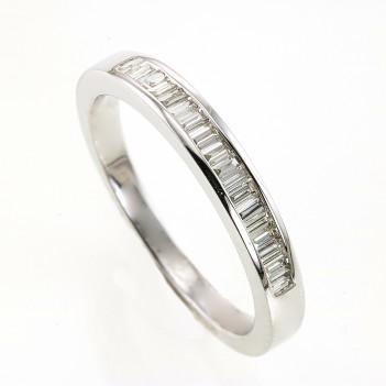 Anillo oro blanco diamantes talla baguette
