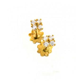 Pendientes Bebé Oro Amarillo 4 Circonitas