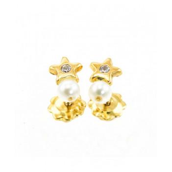 Pendientes bebé oro amarillo perla brillante