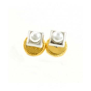 Pendientes bebé oro blanco perla