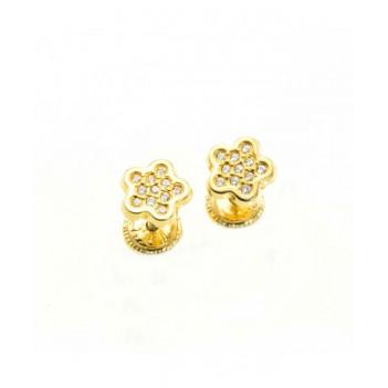 Pendientes Niña Oro Amarillo Brillantes