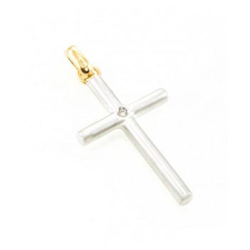 Cruz Oro Blanco Brillante